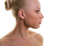 красивейшая свежая женщина кожи профиля стоковое изображение rf