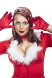 Красивейшая сексуальная девушка нося одежды Santa Claus Стоковые Фото
