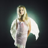 Красивейшая счастливая девушка с крылами ангела Стоковая Фотография RF