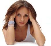 Красивейшая сь девушка сняла на белой предпосылке Стоковое фото RF