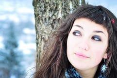 красивейшая сь женщина зимы времени стоковое изображение