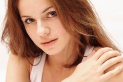 Красивейшая ся девушка сняла на белой предпосылке Стоковая Фотография RF