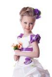 Красивейшая ся девушка с букетом цветков стоковое изображение