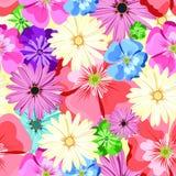 красивейшая флористическая картина картина безшовная Цветы Яркие бутоны, листья, цветки Цветки для поздравительных открыток, плак Стоковые Изображения RF