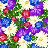красивейшая флористическая картина картина безшовная Цветы Яркие бутоны, листья, цветки Цветки для поздравительных открыток, плак Стоковая Фотография