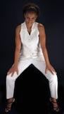 красивейшая черная возмужалая женщина straddle усаживания Стоковая Фотография
