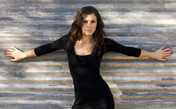 красивейшая черная женщина платья Стоковая Фотография RF