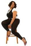 Красивейшая чернота плюс определенная размер женщина стоковые фотографии rf