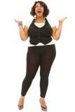Красивейшая чернота плюс определенная размер женщина стоковое изображение rf