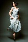 Красивейшая fairy девушка летания в голубом платье Стоковое фото RF
