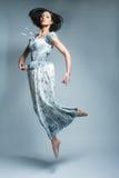 Красивейшая fairy девушка летания в голубом платье Стоковая Фотография