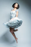 Красивейшая fairy девушка летания в голубом платье Стоковые Фото