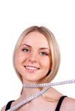 красивейшее белокурое тело ее измеряя детеныши женщины Стоковые Изображения RF