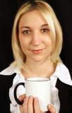красивейшее белокурое утро повелительницы кофе Стоковые Фотографии RF