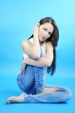 Красивейшее грациозно брюнет девушки с длинними волосами Стоковая Фотография RF