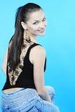 Красивейшее грациозно брюнет девушки с длинними волосами Стоковое Фото