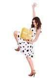 красивейшее золото девушки подарка коробки Стоковые Фото