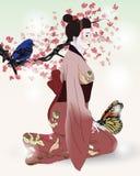 Красивейшее изображение гейши в зацветая саде иллюстрация штока
