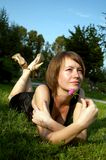 красивейшее лето парка девушки Стоковое Изображение RF