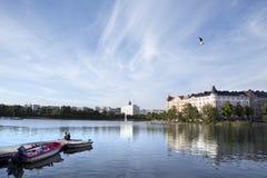 Красивейшее место озера в Хельсинки. Лето, Финляндия Стоковая Фотография RF