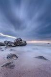 Красивейшее место пляжа на twilight времени Стоковое Фото