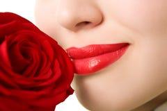 красивейшее поднимающее вверх близкой девушки красное розовое Стоковое Изображение RF