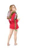 красивейшее празднуя Новый Год изолированное девушкой Стоковая Фотография