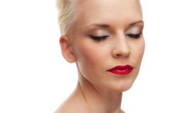 красивейшее предпосылки изолированное над белой женщиной Стоковые Фотографии RF