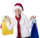 красивейшее рождество делая ее женщину покупкы Стоковые Изображения