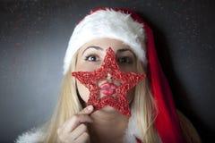 красивейшее рождество одевает девушку Стоковая Фотография