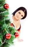 красивейшее рождество около женщины вала Стоковая Фотография