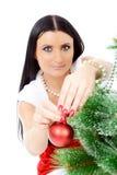 красивейшее рождество около женщины вала Стоковые Изображения RF