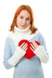 красивейшее сердце девушки одежд теплое Стоковая Фотография RF