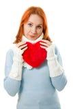 красивейшее сердце девушки одежд теплое Стоковая Фотография