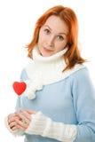 красивейшее сердце девушки одежд теплое Стоковые Фотографии RF
