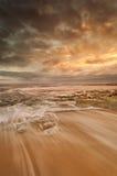 Золотистое и теплое место пляжа Стоковая Фотография