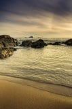 Золотистое и теплое место пляжа Стоковое Изображение