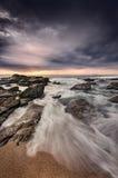 Место пляжа с драматическим настроением Стоковое фото RF