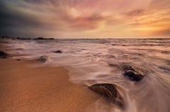 Место пляжа волнового движения Стоковые Фотографии RF