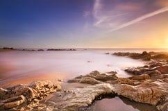 Красивейший шелковистый аффект в воде, место пляжа Стоковое Изображение RF