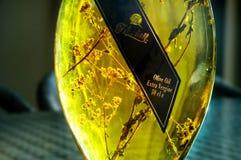красивейшей одетьнные бутылкой специи оливки масла Стоковое Изображение