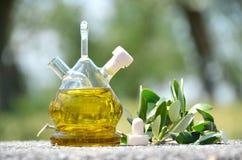 красивейшей одетьнные бутылкой специи оливки масла Sirmione, Италия Стоковые Фото