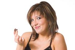 красивейше ест помадку девушки Стоковые Фото