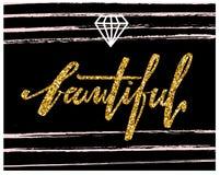 красивейше Каллиграфическая нарисованная рука литерности Черные предпосылка, нашивки, диамант, и письма золота Стоковые Фотографии RF
