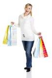Красивейше, молодо, женщина с цветастой хозяйственной сумкой Стоковое Изображение RF