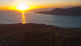 Заход солнца в Исландии стоковое изображение