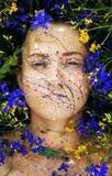 Красивейшие взгляды женщины кладя в лужок цветков Стоковое Изображение