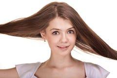 красивейшие волосы девушки длиной предназначенные для подростков стоковое фото