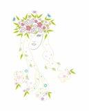 красивейшие волосы девушки цветков Стоковое Фото
