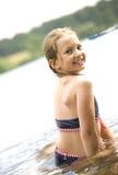 красивейшие голубые детеныши swimsuit девушки Стоковое Изображение RF